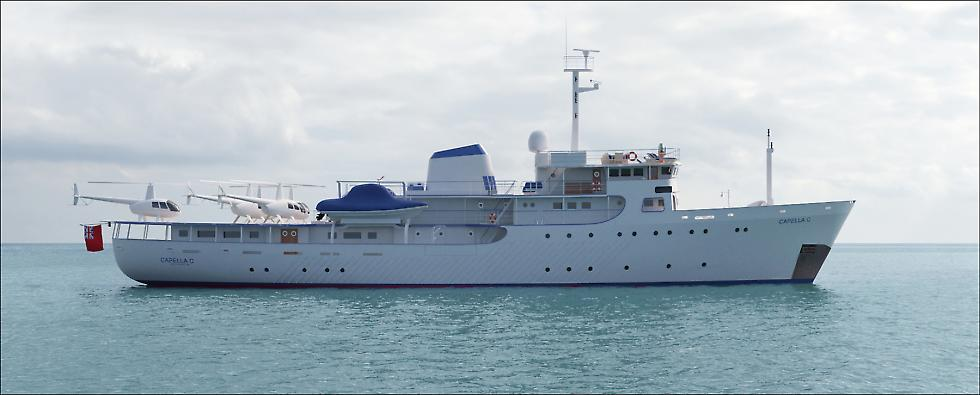 Conversion of an hydrographic vessel